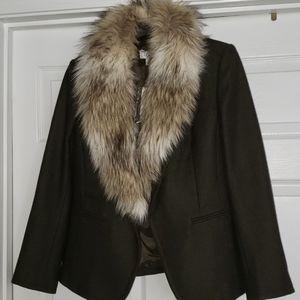 Ann Taylor Loft Wool/Modacrylic fur blazer